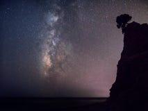 Melkachtige manier, nacht -nacht-scape van Griekenland royalty-vrije stock afbeeldingen