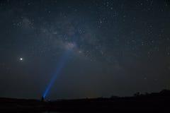 Melkachtige maniermelkweg met sterren en ruimtestof in het heelal Royalty-vrije Stock Foto