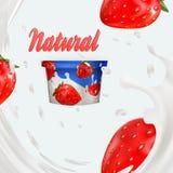 Melkadvertentie of 3d het aromabevordering van de aardbeiyoghurt melkplons met vruchten die op wit wordt geïsoleerd Onmiddellijk  Royalty-vrije Stock Foto
