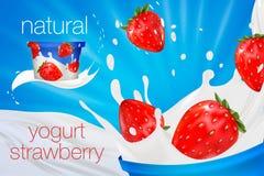 Melkadvertentie of 3d het aromabevordering van de aardbeiyoghurt melkplons met vruchten op blauw wordt geïsoleerd dat Stock Fotografie
