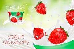 Melkadvertentie of 3d het aromabevordering van de aardbeiyoghurt melkplons met vruchten op groene aardachtergrond onmiddellijk Stock Afbeeldingen