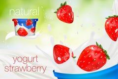 Melkadvertentie of 3d het aromabevordering van de aardbeiyoghurt De plons van de melk Royalty-vrije Stock Afbeeldingen