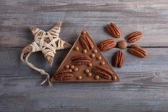 Melkchocola en Pecannootzachte toffeeballen Stock Foto's