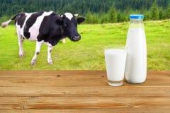 Melken Sie auf Holztisch mit Kuh auf dem Hintergrund Lizenzfreies Stockbild