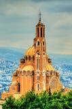 Melkite圣保罗,黎巴嫩希腊天主教徒大教堂Harissa的 库存照片