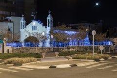 Melkite天主教徒的装饰的St伊莱亚斯大教堂圣诞节的庆祝的在海法在以色列 免版税库存照片