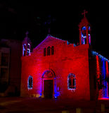 melkite天主教徒的St伊莱亚斯大教堂,圣诞节装饰在海法 免版税库存图片
