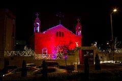 melkite天主教徒的St伊莱亚斯大教堂,圣诞节装饰在海法 库存图片