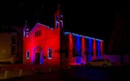 melkite天主教徒的St伊莱亚斯大教堂,圣诞节装饰在海法 库存照片