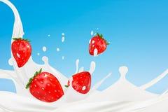 Melkplons met aardbeien Realistische vector 3d illustratie die door netwerk wordt gecreeerd 3d geef terug Stock Foto's