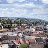 Melkstad en de kerken van de de stadsrivier van Donau royalty-vrije stock foto's
