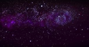 Melkweg in diepe ruimte Spiraalvormige melkweg, animatie van Melkweg Vliegend door stergebieden en nebulas in ruimte, het openbar stock video