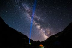 Melkweg in een berg Stock Foto's