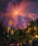 Melkweg en daling Stock Foto
