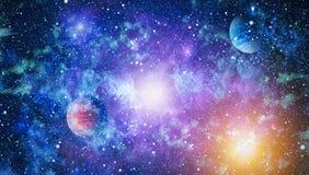 Melkweg en nevel Abstracte ruimteachtergrond Elementen van dit die beeld door NASA wordt geleverd stock fotografie
