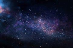 Melkweg en nevel Sterrige kosmische ruimtetextuur als achtergrond stock foto