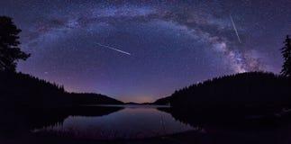 Melkweg en Perseids stock fotografie