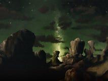 Melkweg - het Digitale Schilderen van het Landschap Stock Afbeeldingen