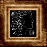 Melkweg met een tekening van twee planeten van een vrouw het gezicht en stock illustratie
