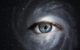 Melkweg met oog stock fotografie