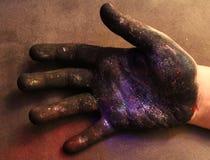 Melkweg op uw hand stock afbeelding