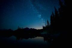 Melkweg over Bos en Meer Stock Foto