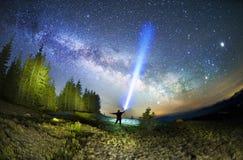 Melkweg over de Sparren stock afbeelding