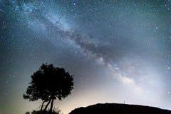 Melkweg over Meteora, Griekenland Royalty-vrije Stock Foto