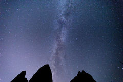 Melkweg over Meteora, Griekenland Royalty-vrije Stock Afbeelding