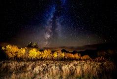 Melkweg, Tetons en Espen in Daling Stock Foto