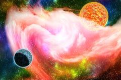 Melkwegachtergrond met roze nevel stock illustratie