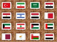Mellanösten landsflaggor Arkivfoton
