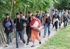 Mellanösten migranter fotografering för bildbyråer