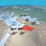 Mellanösten som sett från utrymme, Syrien Arkivbilder