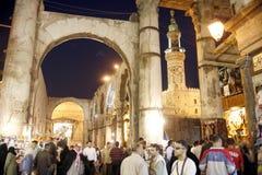 MELLANÖSTEN SYRIEN DAMASKUS FÖRDÄRVAR DEN GAMLA STADEN Arkivfoto