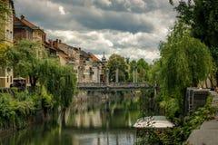 Mellan floden Ljubljiana fotografering för bildbyråer