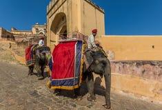 Mellan New Delhi och Pakistan, en desertic region som är berömd av dess slottar, dess färgrika folk och de sofistikerade stepwell arkivfoton