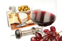 Mellanmål av ost och wine av olika produkter. Arkivfoto