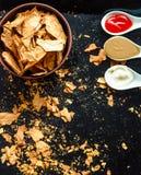 Mellanmål för ett parti, sunda chiper med en tortilla, nachos med sa Royaltyfria Foton