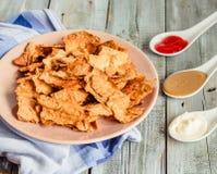 Mellanmål för ett parti, sunda chiper med en tortilla, nachos med sa Arkivbild