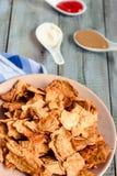 Mellanmål för ett parti, sunda chiper med en tortilla, nachos med sa Arkivfoton