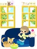 Mellanmål med en katt Royaltyfri Bild