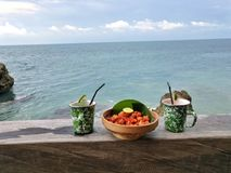 Mellanmål på stranden royaltyfria foton