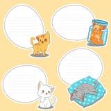 mellanrum för 4 papper av utdragna små katter stock illustrationer