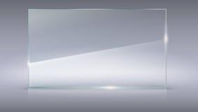 Mellanrum glass platta för genomskinlig vektor Vektormall, horisontalbaner med kopia-utrymme Realistisk textur för foto med stock illustrationer