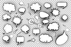 mellanrumet bubbles anförande Uppsättning av komiska anförandebubblor och beståndsdelar med rastrerade skuggor också vektor för c Royaltyfria Bilder