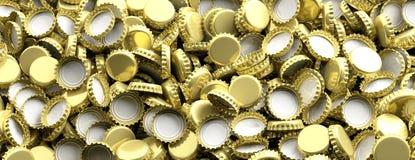 Mellanrumet guld- öl caps bakgrund, banret, bästa sikt illustration 3d Royaltyfri Bild