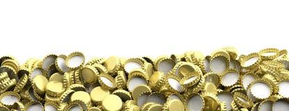 Mellanrumet guld- öllock traver på vit bakgrund, kopieringsutrymme, baner illustration 3d Royaltyfri Bild
