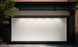 Mellanrumet shoppar fönstret i nattgatan med ljus på ramen framförande 3d stock illustrationer