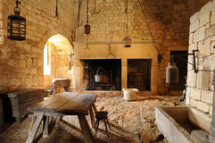 Mellersta ålderslott av Beynac i Dordogne Arkivbilder